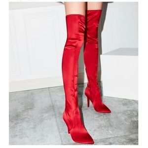Shoes - Candy Red Thigh High Boots